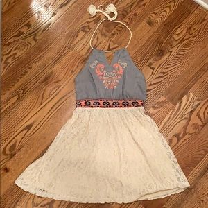 Denim/Cream Halter Embroidered Boutique Dress